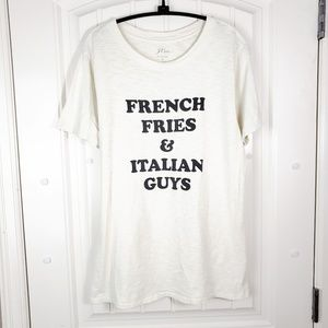 J Crew French Fries & Italian Guys Printed Tee, M